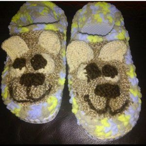NEW HAND-KNITTED Puppy Smile  BOOTIES SLIPPERS 8-9